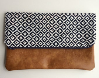 Navy Blue and White with Vegan Leather Fold Over Clutch