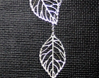 Leaf Necklace, double leaf necklace
