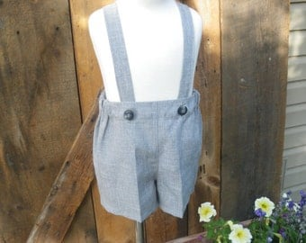 Boys grey shorts, boys suspender shorts, ring bearer shorts, available to order 12 mo, 18 mo, 2t, 3t, 4t, 5t ,6