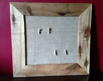 Rustic wood photo frame with burlap and clothespins