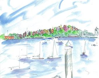 BOSTON GREETING CARDS by Jane Staffier: 1.'Eastie'/Boston Harbor 2. Post Office Park 3. Boutiques Newbury 4. Boston Public Gardens*Boston*