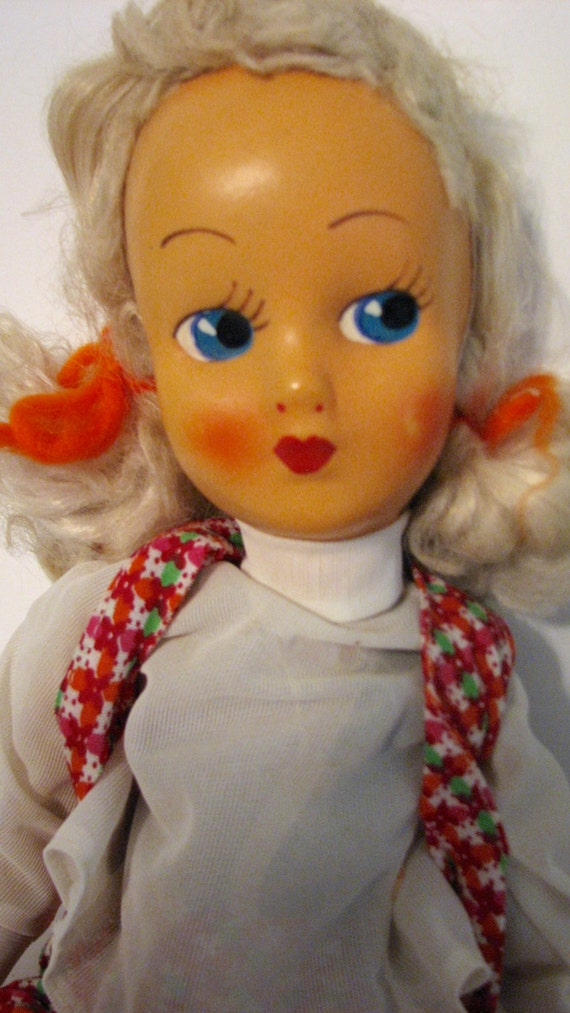Vintage Doll 1940s Bed Cloth Plastic Face Red
