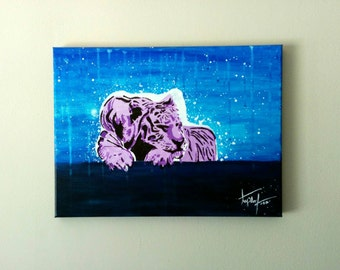 Collection: stencil art, sleepy tiger, stencil art, by tapderf. Acrylic paint.