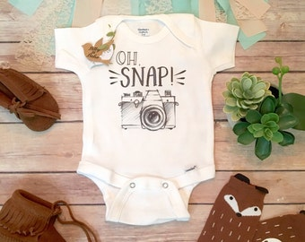 Baby Boy Gift, Unique Baby Gift, Hipster Onesie®, Baby Boy Clothes, Hipster Baby Clothes, Camera Onesie, Funny Onesies, Oh Snap, No Photos