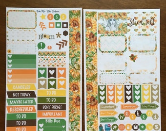 Hello Sunflower Medium Personal MM Stickers Louis Vuitton Mambi Inkwell Press Filofax Kikki K Happy Life Planner LV Summer Fall Autumn