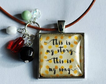 This is my Story Pendant Leather Necklace