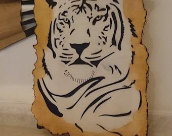 Woodcut painting gift wedding registry