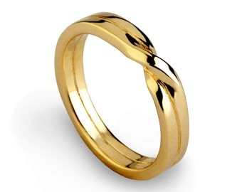 love knot ring gold wedding band unique mens wedding band womens wedding band - Wedding Band Ring