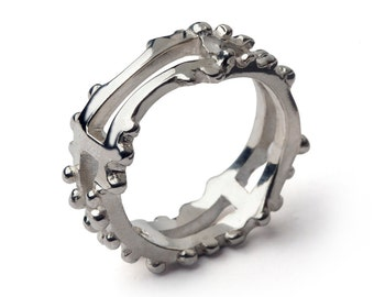 GHEVER Mens Silver Ring, Large Mens Ring, Mens Silver Band, Sterling Silver Mens Band, Unique Mens Ring