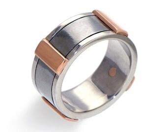 Rose Gold Men's Wedding Band, Stainless Steel Wedding Band, Sterling Silver Wedding Band for Men, Wide Wedding Band