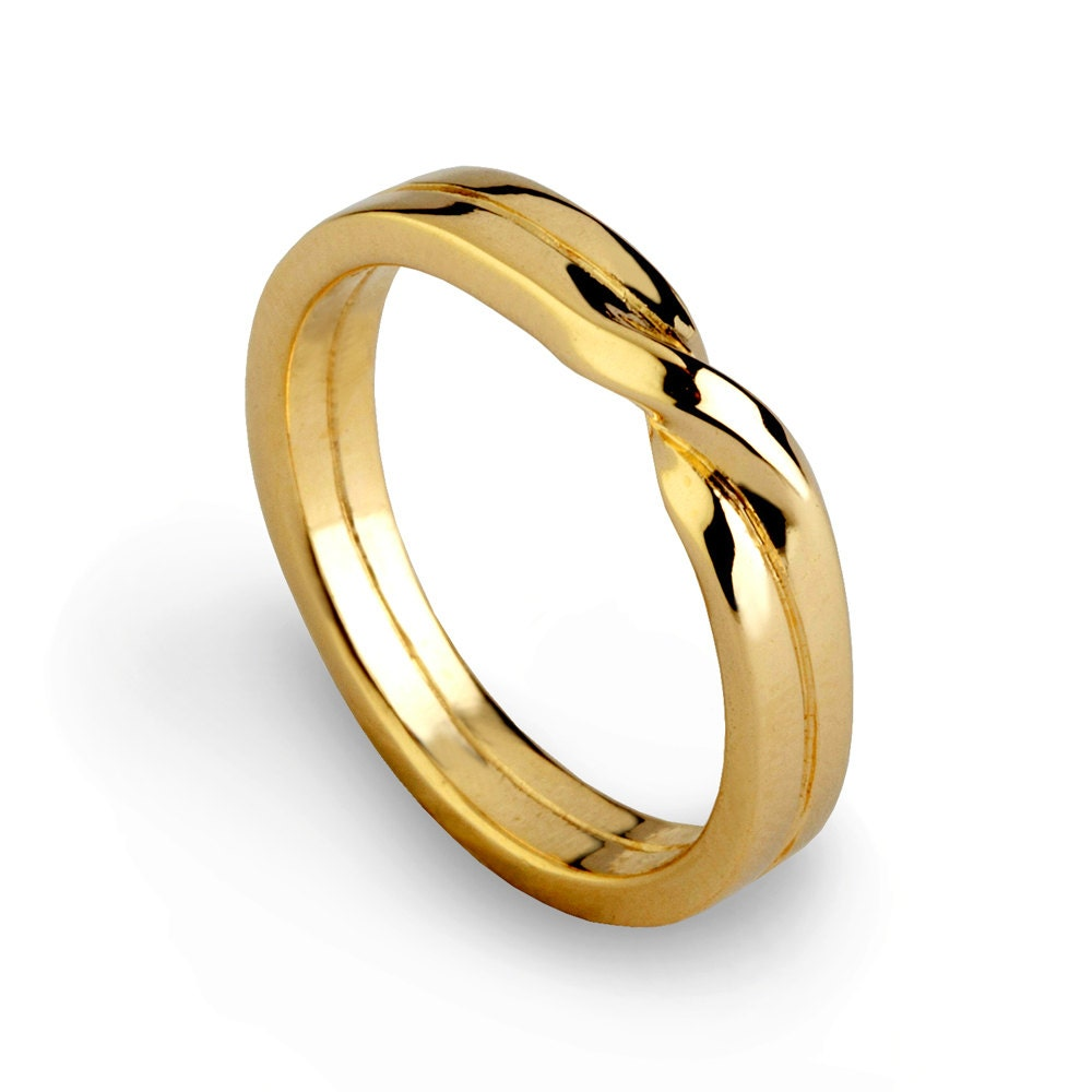 Love knot ring gold wedding band unique mens wedding band zoom junglespirit Images