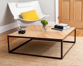 Handmade Herringbone Reclaimed Oak Coffee Table with Industrial Style Metal Legs