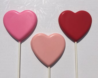 HEART CHOCOLATE LOLLIPOP//12 Count//Wedding//Engagement//Anniversary//Bridal Shower//Valentine's Day//Bridal Party Gift