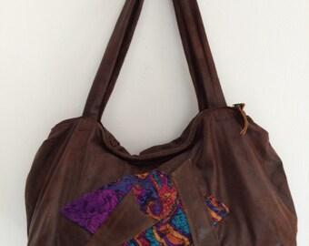 Handcrafted, affordable leather-look fabric handbag with batik design - boho bag
