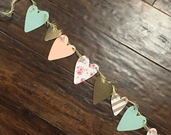 Peach and Mint Heart Garland!! Perfect for weddings, baby showers, bridal showers, etc!
