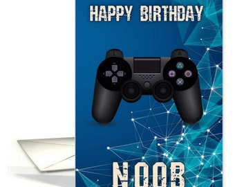 Gamer Birthday Card, Happy Birthday Noob, Newbie Birthday Card, Newbie Geek Gamer, Console Game Birthday Card
