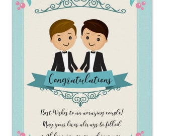 Wedding Congratulations - Two Grooms | Gay Wedding card | Blue and cream wedding card