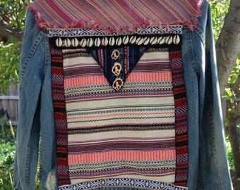 Upcycled boho denim jacket