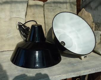 Pair Black White Enamel Pendant Lamp Shades Vintage Industrial Lights Black Enamel Bauhaus Shades Industrial Lighting