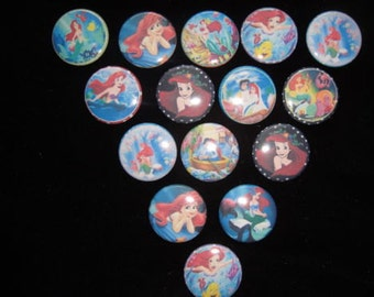 Disney Ariel Little Mermaid Inspired Buttons Set of 15