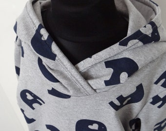 Cute hoody with blue elephant print