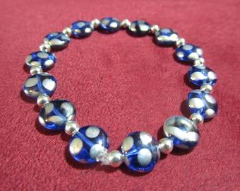 Blue with Silver Dots stretch bracelet