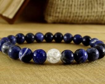 Birthday Gift Ideas Sodalite Bracelet Blue Jewelry Mens Bracelet For Women Yoga Jewelry Gift Stretch Bracelet Sodalite Beaded Bracelet Yoga