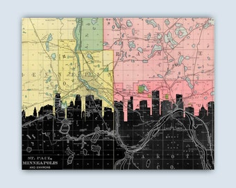 Twin Cities Skyline, Twin City map, Twin Cities Skyline Minneapolis-St Paul, Minnesota map Art Print, St Paul Poster, Wedding Gift, Est.