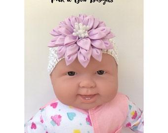 Baby Headbands, Purple Headbands, Lavender Headbands, Light Purple Headbands, Baby Girl Headbands, Kanzashi Headbands, Big Flower Headbands