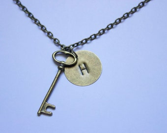 """Letter """"H"""" Antique Bronze Skeleton Key Necklace With Initial """"H"""", Hand Stamped, Metal"""