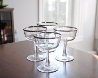 Champagne Coupes - Silver Bands - Dorothy Thorpe Style - Set of 4 - Midcentury Vintage Barware