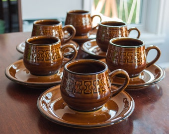 Vintage/mid century brown Cambrian Coffee or Tea 6 Cups and saucer made in japan