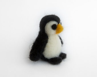 Wool Penguin // Needle Felted Miniature // Nursery Decoration