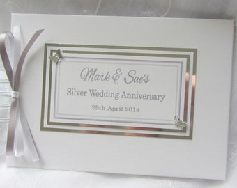 Personalised Silver Wedding  Anniversary / Engagement /  Guest Book / Scrapbook Memory Album