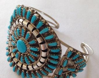 Turquoise squash blossom cuff bracelet