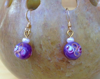 Purple Millefiori Bead Earrings