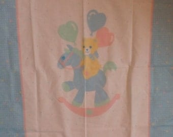 Vintage panel #145 Bear on Rocking Horse with FREE SHIPPING
