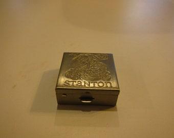 "Vintage Silver Tone STANTON pill box 1.25"" X 1.25 1950s"