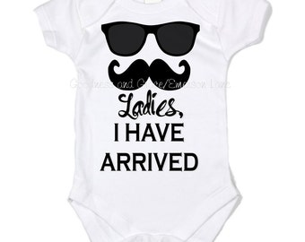 Baby boy or toddler boy mustache onesie with personalized ladies i have arrived new baby boy creeper mustache monogram boy baby gift negle Images