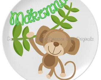 Personalized Monkey Melamine Plate for Kids