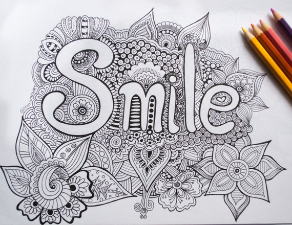 Smile Printable Inspirational Quotes Quotes Coloring Sheet