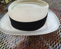 Vintage white panama hat HILTON HEAD NATIONAL band fits all made in usa made in louisville kentucky by town talk