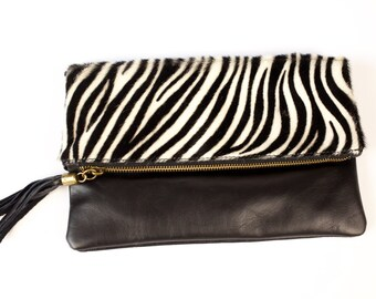 Zebra Leather clutch (medium size)