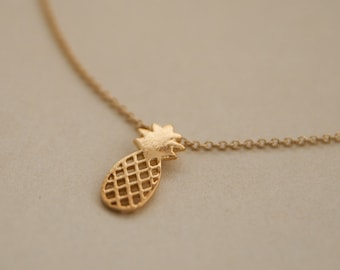 pineapple necklace - gold pineapple necklace - pineapple - pineapple Jewelry - gold plated pineapple necklace - gift for her - gift under 10