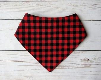 Red Plaid Bandana Bib // Baby Bib // Drool Bib // Gifts for Baby Under 10 // Baby Shower Gift // Flannel Bib // Boutique Bib // Handmade