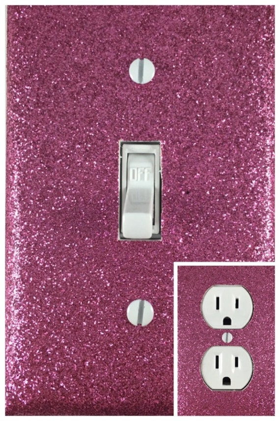 Pink Glitter Light Switch Cover Outlet Switch Plate Free