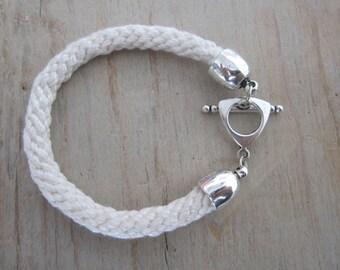 Kumihimo bracelet, kumihimo braided strap, creme kumihimo bracelet, moderne bracelet, hippie chic bracelet, handmade bracelet