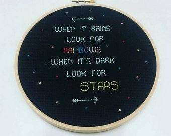 Cross stitch inspirational 6 inch rainbow hoop art