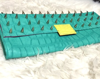 Teal Spiked Battle Clutch