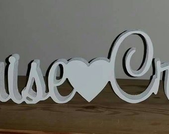 Joined names with a heart